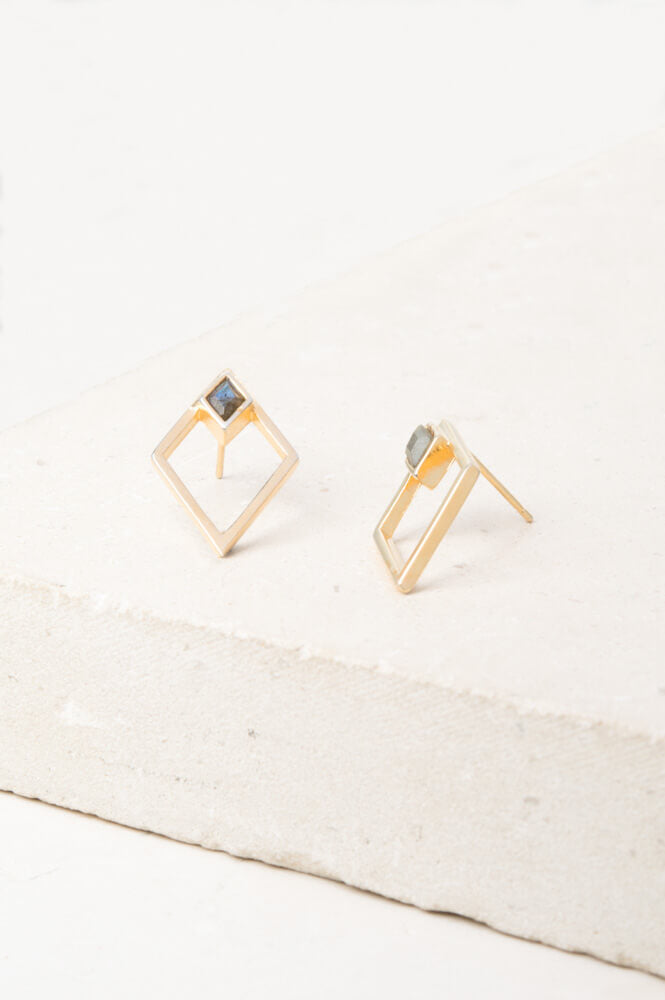 Charlotte- Labradorite and Gold Stud Earrings