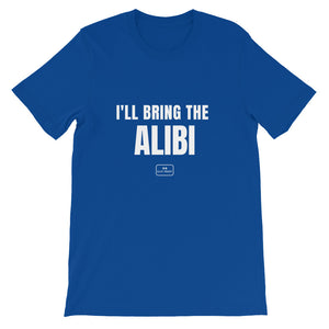 bride squad shirts, fitted tee, 'i'll bring the alibi', royal blue