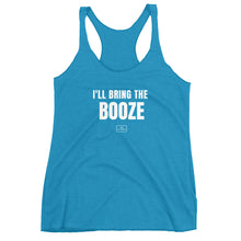Load image into Gallery viewer, girl squad tanks, racer-back, 'i'll bring the booze, aqua blue