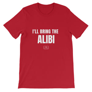 bride squad shirts, fitted tee, 'i'll bring the alibi', red