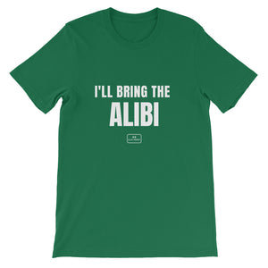 bride squad shirts, fitted tee, 'i'll bring the alibi', kelly green