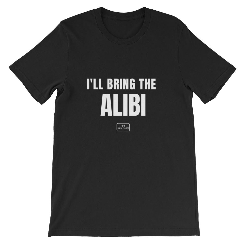 bride squad shirts, fitted tee, 'i'll bring the alibi', black