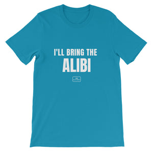 bride squad shirts, fitted tee, 'i'll bring the alibi', aqua blue