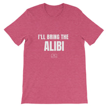 Load image into Gallery viewer, bride squad shirts, fitted tee, 'i'll bring the alibi', heather raspberry