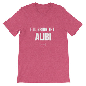 bride squad shirts, fitted tee, 'i'll bring the alibi', heather raspberry