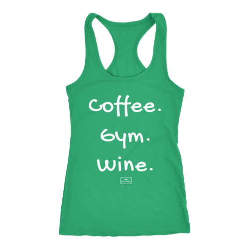 workout shirts, racer-back, 'coffee gym wine', kelly green