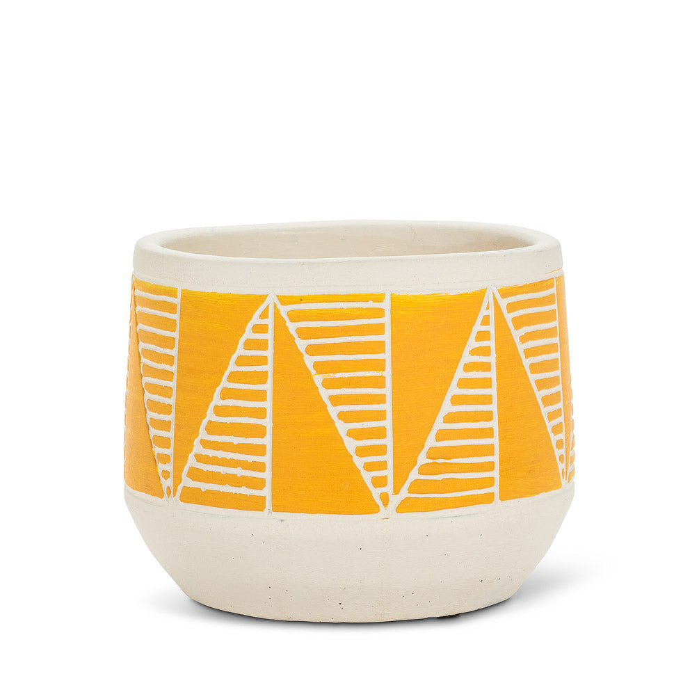 Yellow Etched Planter 5''