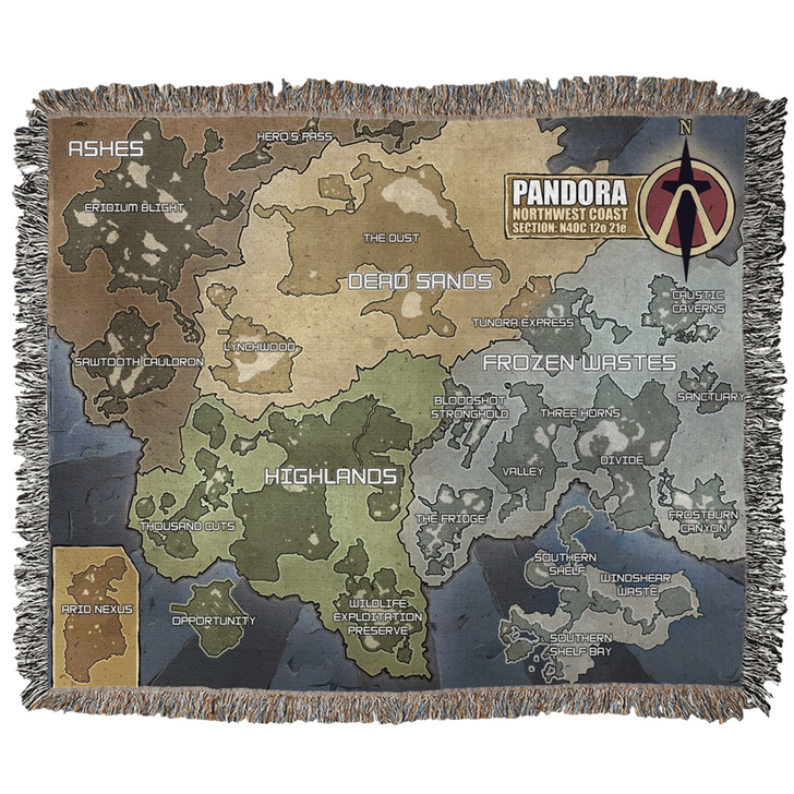 Borderlands Pandora Map Woven Blanket by GEARBOX LOOT