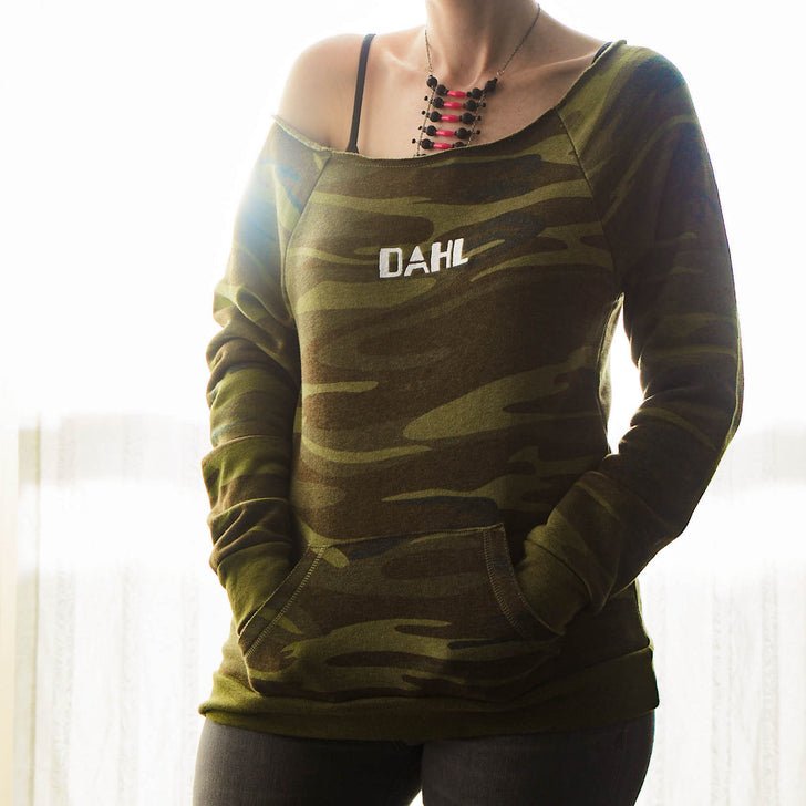 Dahl Camo Women's Off-Shoulder Pullover by GEARBOX LOOT