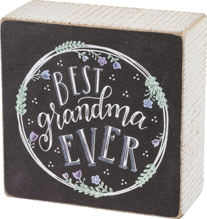 Chalk Art Box Sign - Best Grandma Ever