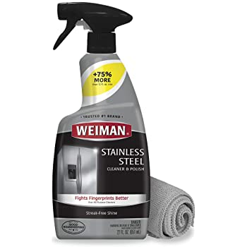Weiman Stainless Steel Cleaner and Polish - 22 Ounces (Microfiber Cloth) - Appliance Surfaces Leave Behind a Brilliant Shine