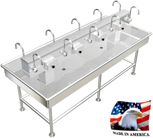 "Stainless Island Wash up Sink, 92"" Electronic Faucets 0108E92408L - Best Sheet Metal, Inc."