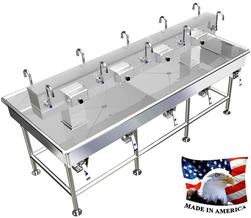 "Stainless Steel Island Wash up Sinks, 92"" Knee Valves, 0108K92408L - Best Sheet Metal, Inc."