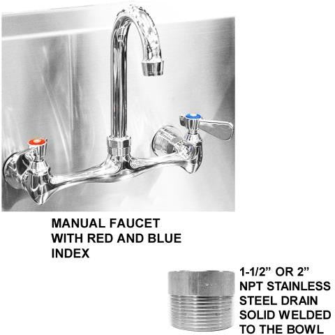 "Stainless Steel Multi-station Wash up Sink, 36"" Manual Faucets, Wall Brackets, Deep Bowl 