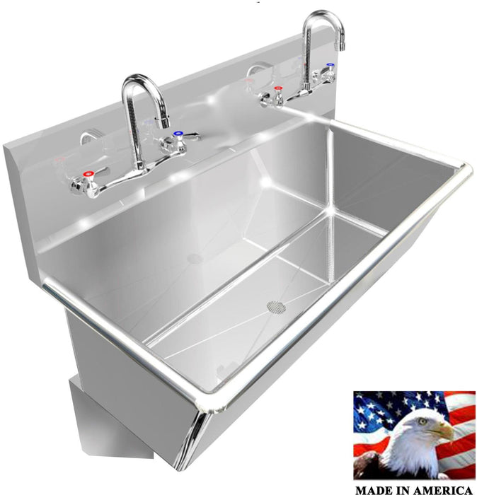 "Heavy Duty 14 gauge (0.0781"") Type 304 Stainless Steel Multi-station Wash up Sink, 36"" Manual Faucets, Wall Brackets, Deep Bowl 
