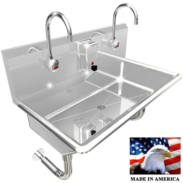 "Stainless Steel Wash up Sink | Two Station |  36"" Line - Best Sheet Metal, Inc."