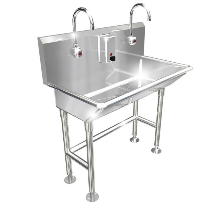 "Heavy Duty 14 gauge (0.0781"") Type 304 Stainless Steel Multi-Station Wash up Sink, 40"" Electronic Faucets, Free Standing 
