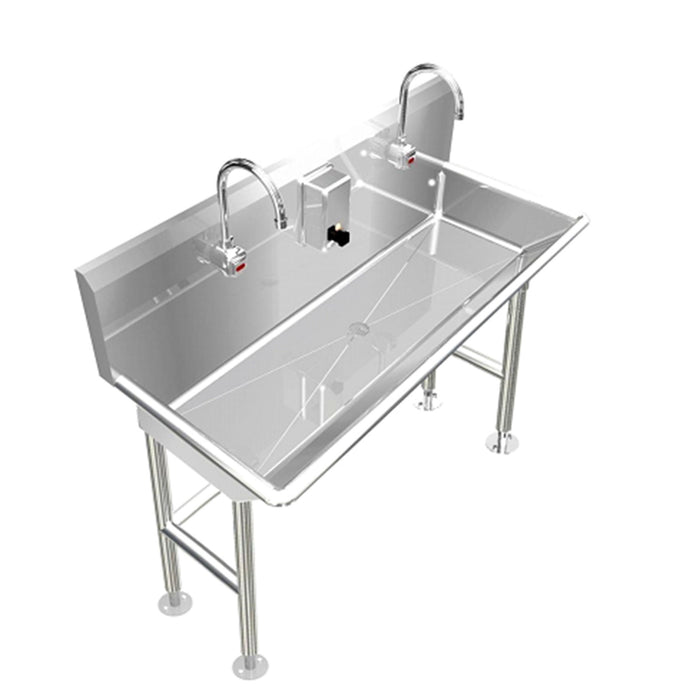 "Heavy Duty 14 gauge (0.0781"") Type 304 Stainless Steel Multi-Station Wash up Sink, 48"" Electronic Faucets, Free Standing 