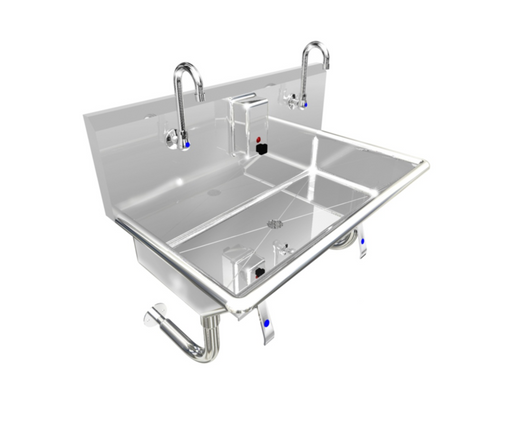 "Heavy Duty 14 gauge (0.0781"") Type 304 Stainless Steel Multi-station Wash up Sink, 36"" Knee Valves, Round Tube Brackets 
