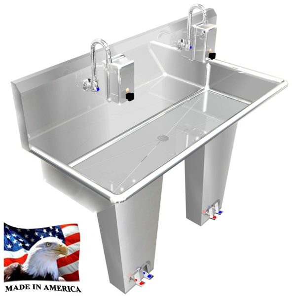 "Stainless Steel Multi-Station Wash up Sink, 40"" Double Foot Valve, Foot Pedal Column 