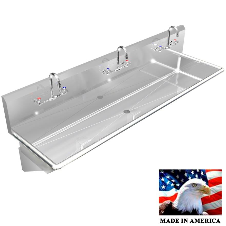 "STAINLESS STEEL MULTI-STATION WASH UP SINK, 72"" MANUAL FAUCETS, WALL BRACKETS 030M72208B - Best Sheet Metal, Inc."