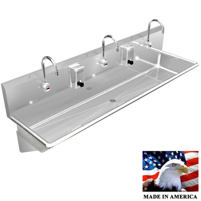 "Stainless Steel Multi-Station Wash up Sink, 72"" Electronic Faucets, Wall Brackets, 032E72208B - Best Sheet Metal, Inc."