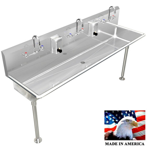"Stainless Steel Multi-station Wash up Sink, 60"" Manual Faucets, Straight Legs 032M60208L - Best Sheet Metal, Inc."