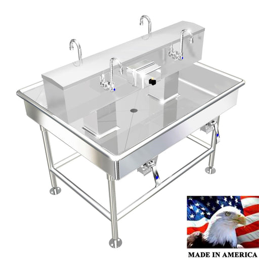 "Heavy Duty 14 gauge (0.0781"") Type 304 Stainless Steel Island Wash up Sinks, 48"" Knee Valves, 042K48408L"