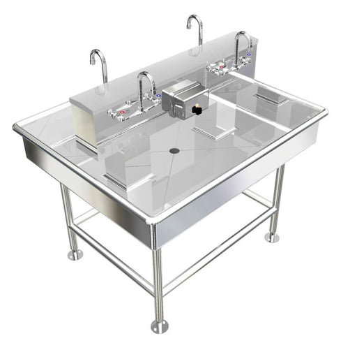 "Stainless Steel Island Wash up Sinks, 48"" Manual Faucets, 042M48408L"