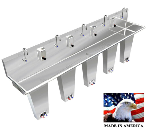 "Stainless Steel Multi-Station Wash up Sink, 108"" Double Foot Pedal Column, 054P108208C2 - Best Sheet Metal, Inc."