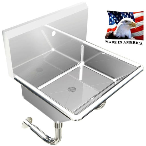 "Stainless Steel Single-station Wash up Sink, 24"" Single Holes, Round Tube Brackets 110S24208R - Best Sheet Metal, Inc."