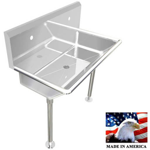 "Stainless Steel Multi-station Wash up Sink, 36"" Single Hole, Straight Legs 