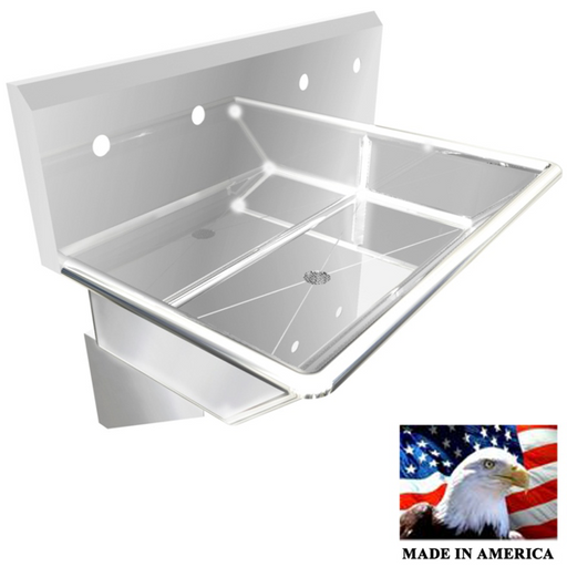 "Stainless Steel Multi-station Wash up Sink, 36"" Double Hole, Wall Brackets 