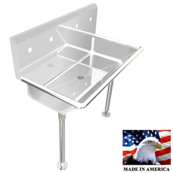 "Stainless Steel Wash up Sink | Two Station |  36"" Line"