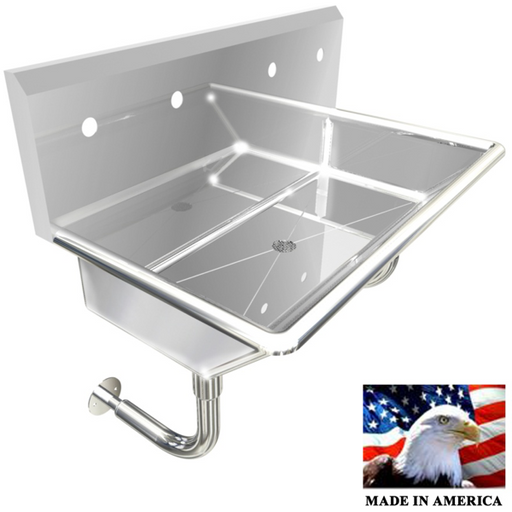 "Stainless Steel Multi-station Wash up Sink, 36"" Double Hole, Round Tube Brackets 