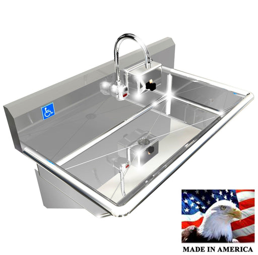 "Stainless Steel ADA Compliant Single Station Wash up Sink, 36"" Electronic Faucet, Wall Brackets 