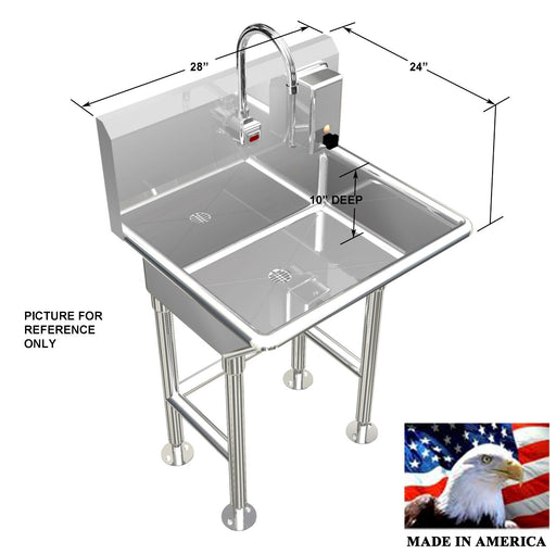 "HAND WASH SINK SINGLE STATION 28"" ELECTRONIC FAUCET FREE STANDING MADE IN USA - Best Sheet Metal, Inc."