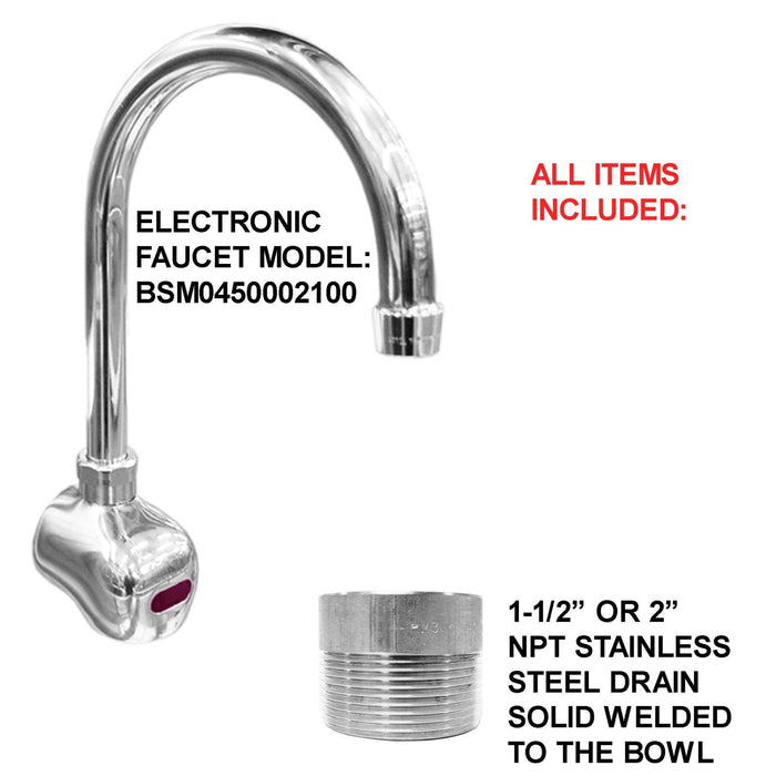 "SURGEON'S HAND SINK 2 STATION 60"" HD STAINLESS STEEL #304 HANDS FREE MADE IN USA - Best Sheet Metal, Inc."