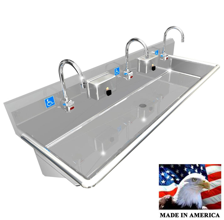 "Stainless Steel ADA Compliant Multi-Station Wash up Sink, 60"" Electronic Faucet, Wall Brackets 
