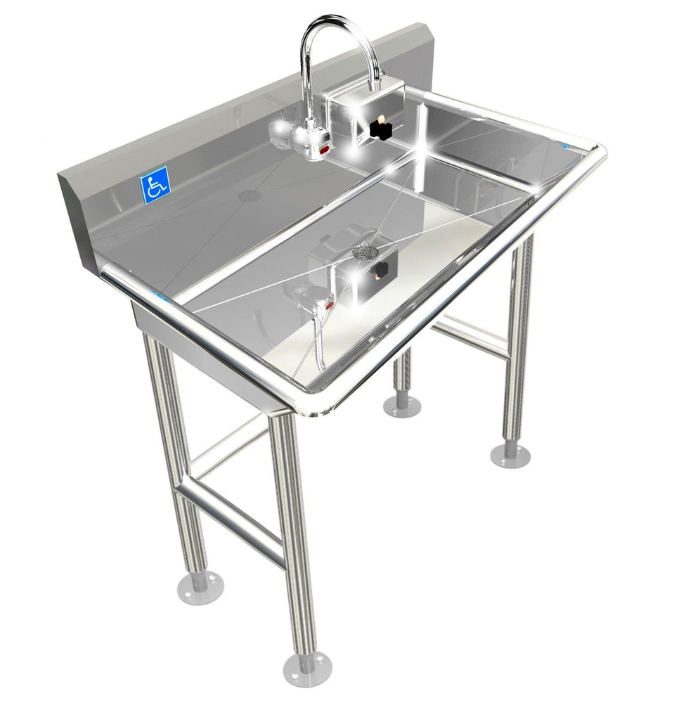 "Stainless Steel ADA Compliant Multi-Station | Wash up Sink, 40"" Electronic Faucet, Wall Brackets  ADA-011E402066H - Best Sheet Metal, Inc."