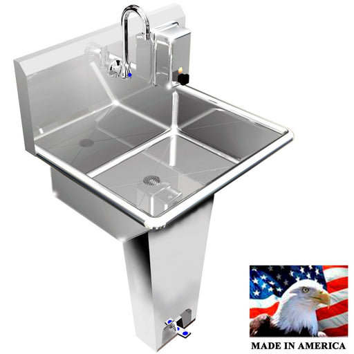 "HANDS FREE HAND SINK SINGLE STATION 24"" SINGLE PEDAL VALVE 304 STAINLESS STEEL - Best Sheet Metal, Inc."