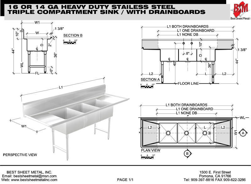 "3 COMPARTMENT (CUSTOM) HEAVY DUTY 14GA 105-3/4""X30"" STAINLESS STEEL MADE IN USA - Best Sheet Metal, Inc."