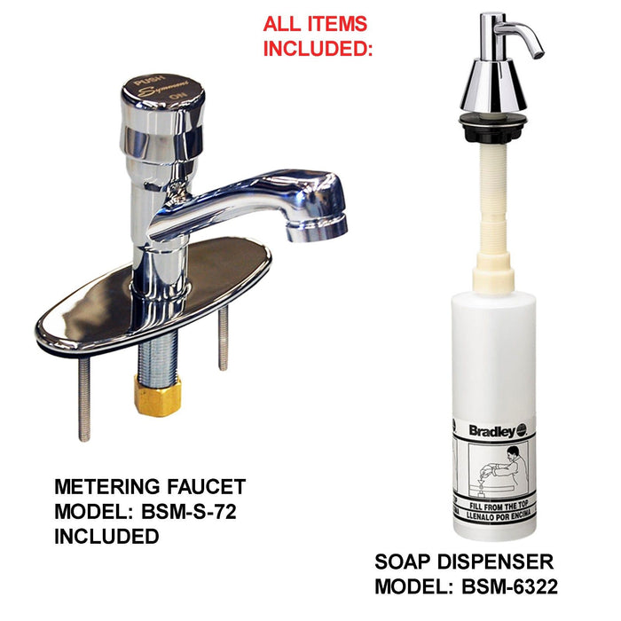 "ADA HAND SINK 3 STATION 60"" MADE IN AMERICA HD VANDAL RESISTANT METERING FAUCET - Best Sheet Metal, Inc."