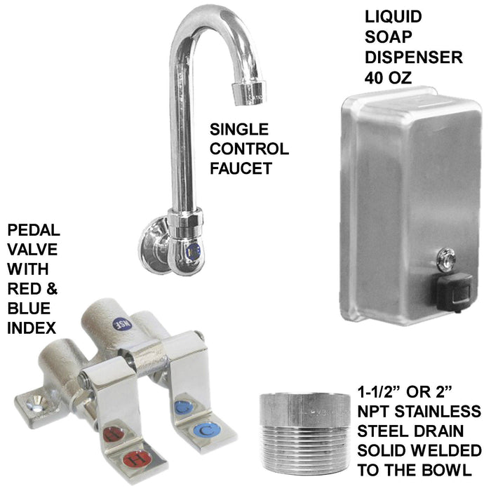 "HAND SINK 2 USERS MULTISTATION 42"" PEDALVALVE HANDS FREE STAINLESS S MADE IN USA - Best Sheet Metal, Inc."