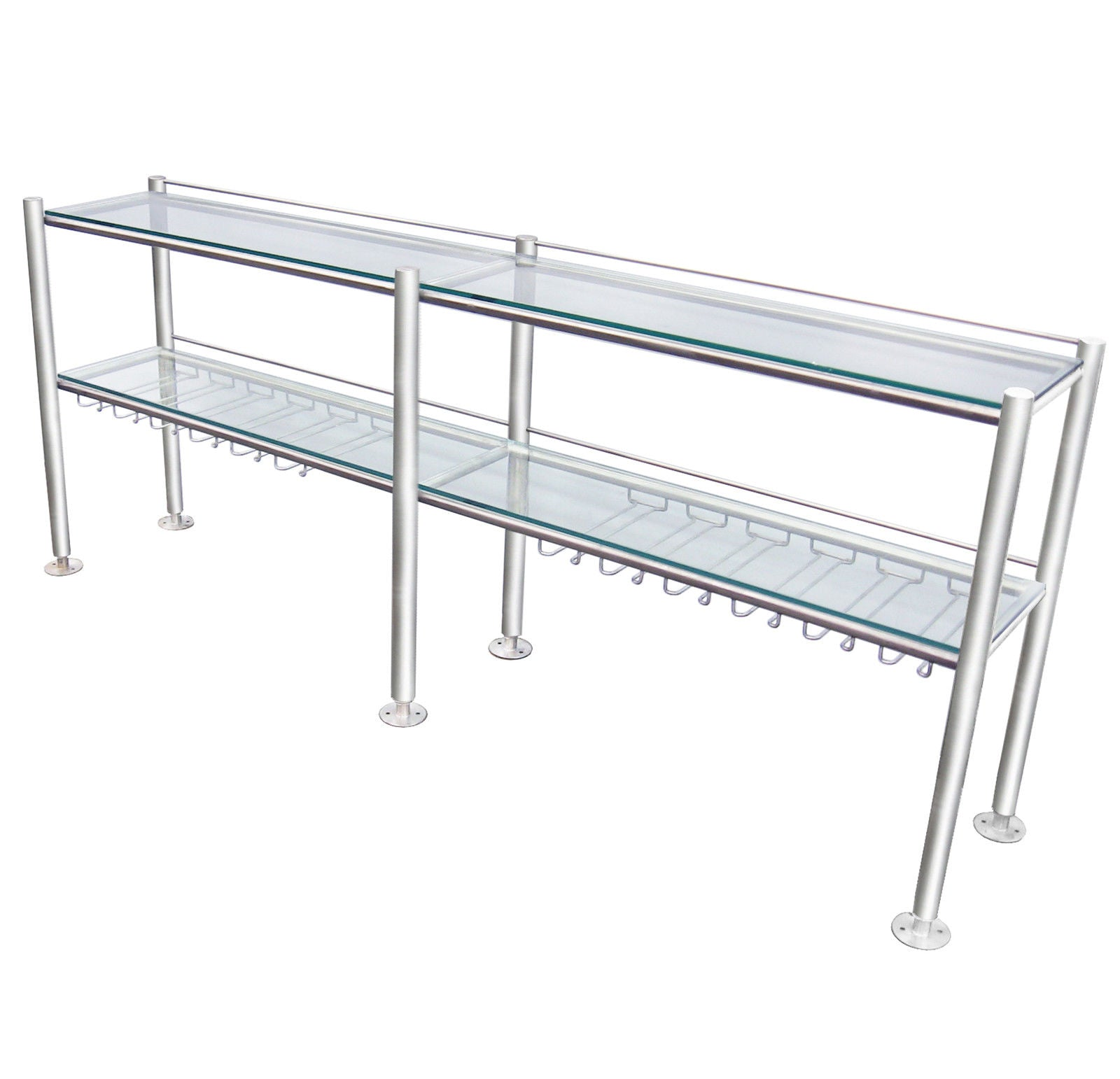 "STAINLESS STEEL COMMERCIAL WINE RACK, WITH 2 TEMPERED CLEAR GLASS 3/8""  SHELVES - Best Sheet Metal, Inc."