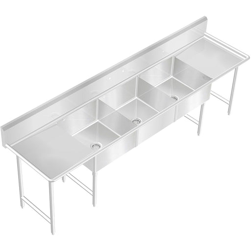 "POT SINK 3 COMPARTMENT 120""X30"" NSF HEAVY DUTY 14GA STAINLESS STEEL MADE IN USA - Best Sheet Metal, Inc."