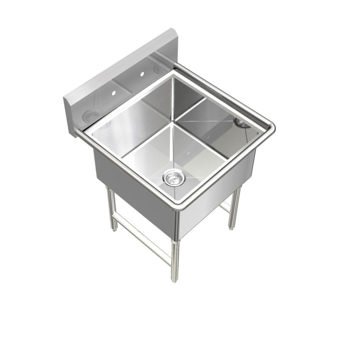 "Stainless Steel 1 Compartment Restaurant sink, 23"" 16 Gauge 