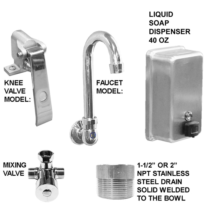 "Stainless Steel Multi-station Wash up Sink, 36"" Knee Valves, Wall Brackets 