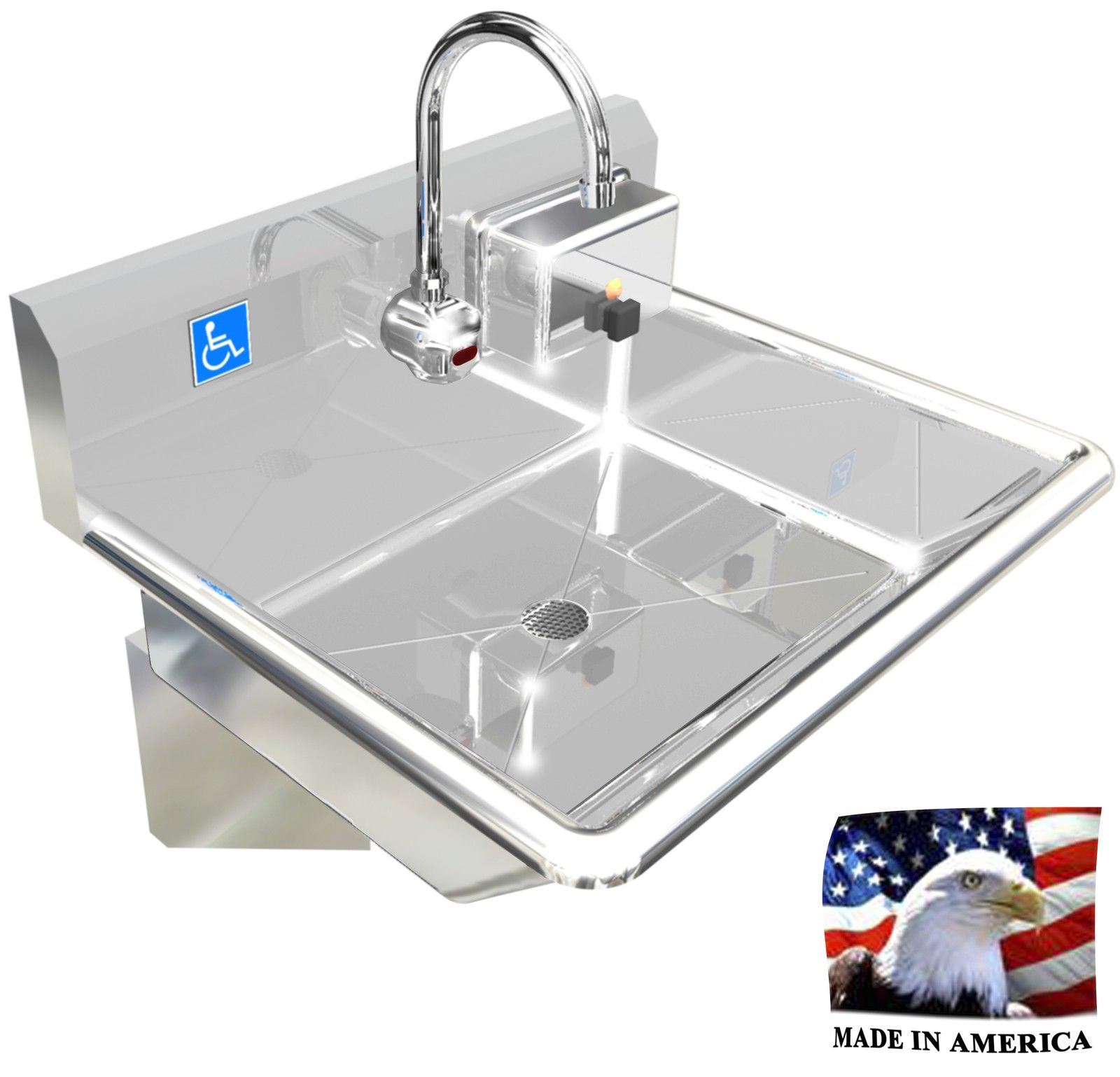 "Stainless Steel ADA Compliant Single Station Wash up Sink, 24"", Electronic Faucets Wall Brackets 