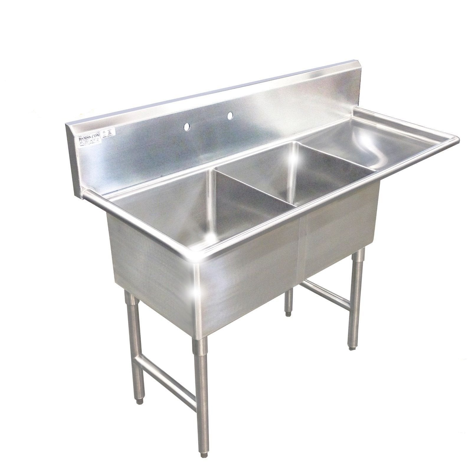 Picture of: Heavy Duty Stainless Steel 14 Gauge 0 0781 Type 304 2 Compartment Restaurant Commercial Sink 56 1 2 With Drain Board S5624 181812 Commercial Stainless Steel Wash Up Sinks